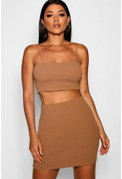 Womens Camel Strappy Crop & Mini Skirt Co-ord Set