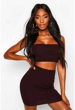 Chocolate Strappy Crop & Mini Skirt Co-ord Set