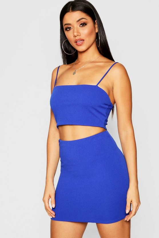 Womens Cobalt Strappy Crop & Mini Skirt Co-ord Set
