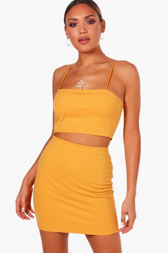 Womens Desert sand Strappy Crop & Mini Skirt Co-ord Set