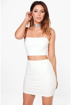 Ivory Strappy Crop & Mini Skirt Two-Piece Set