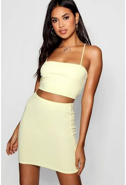 Womens Lemon Strappy Crop & Mini Skirt Co-ord Set