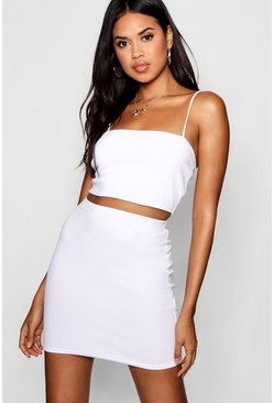 Womens White Strappy Crop & Mini Skirt Co-ord Set