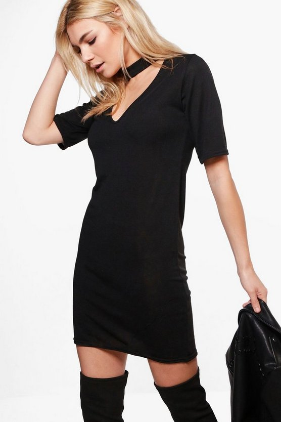 Jennifer Choker Knitted T-Shirt Dress