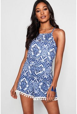 Womens Blue Paisley Print Pom Trim Playsuit