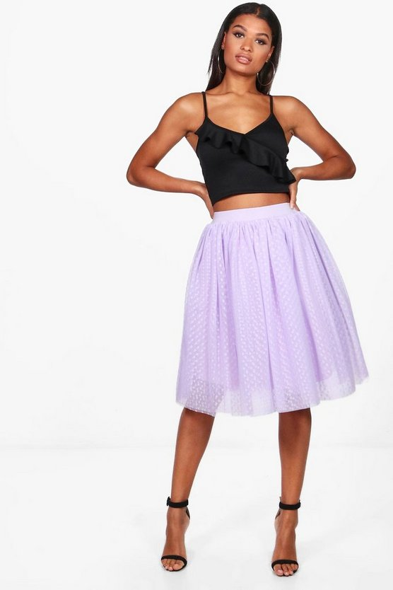 Boutique Maya Heart Tulle Full Midi Skirt