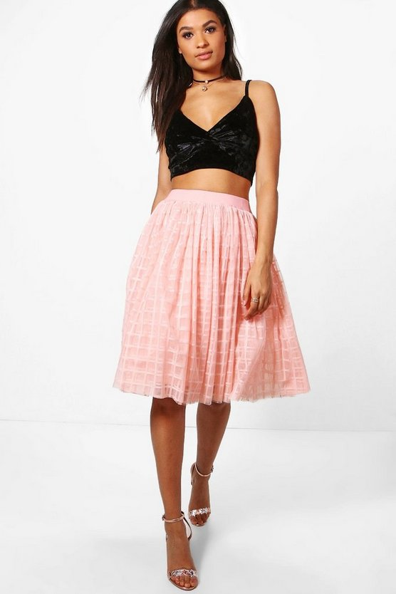 Boutique Amala Grid Tulle Full Midi Skirt