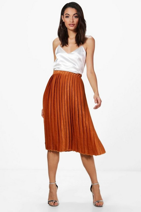 Premium Aura Satin Pleated Midi Skirt
