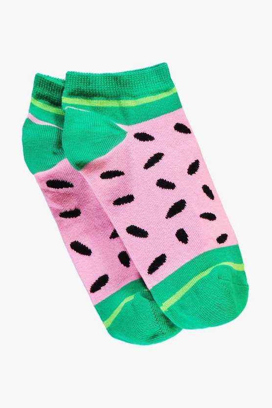 Womens Pink Watermelon Trainer Socks