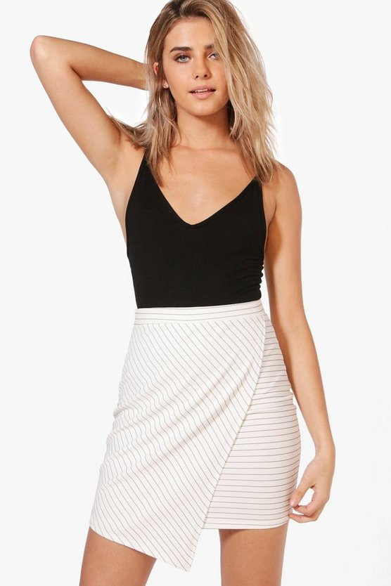 Monochrome Asymetric Mini Skirt