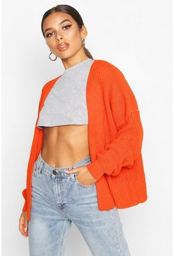 Womens Burnt orange Oversized Rib Cropped Cardigan