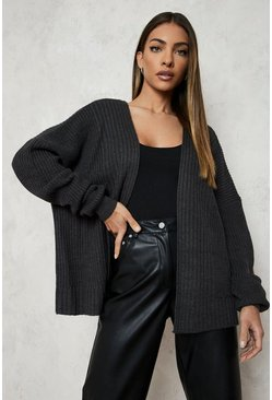 Charcoal Oversized Rib Cropped Cardigan