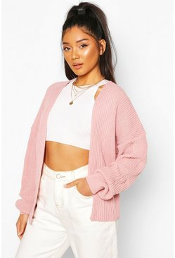 Womens Nude Oversized Rib Cropped Cardigan