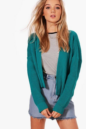 Womens Teal Oversized Rib Cropped Cardigan