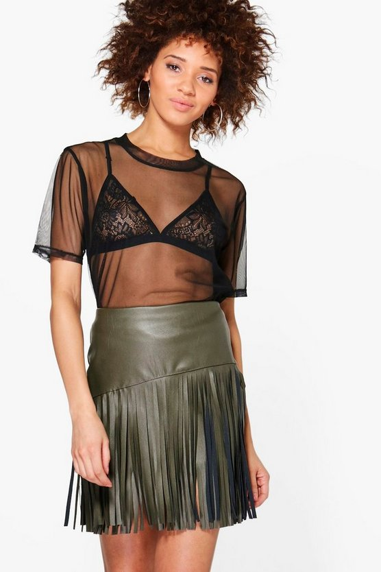 Arianna Leather Look Tassle Mini Skirt