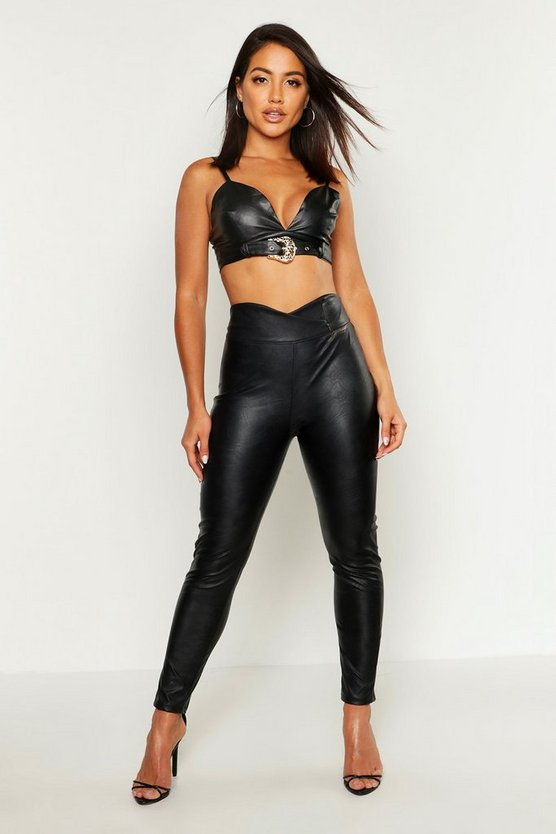 Leather Look Curved Waist Skinny Trousers