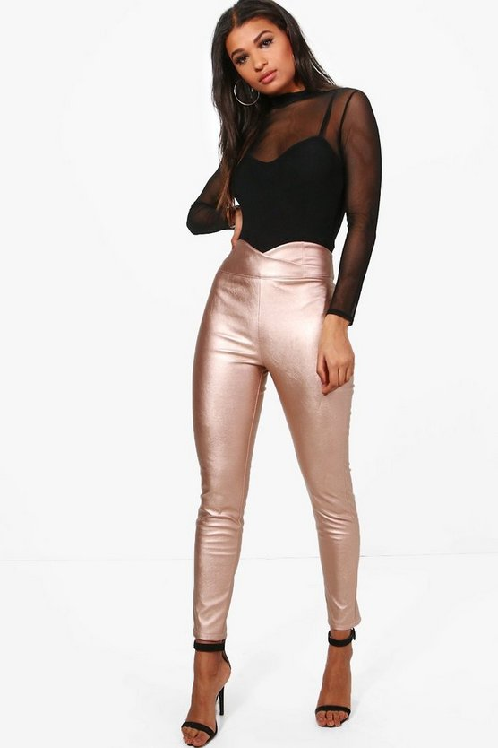 Womens Rose gold Leather Look Curved Waist Skinny Trousers
