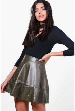 India Leather Look Studded Skater Skirt, Женские