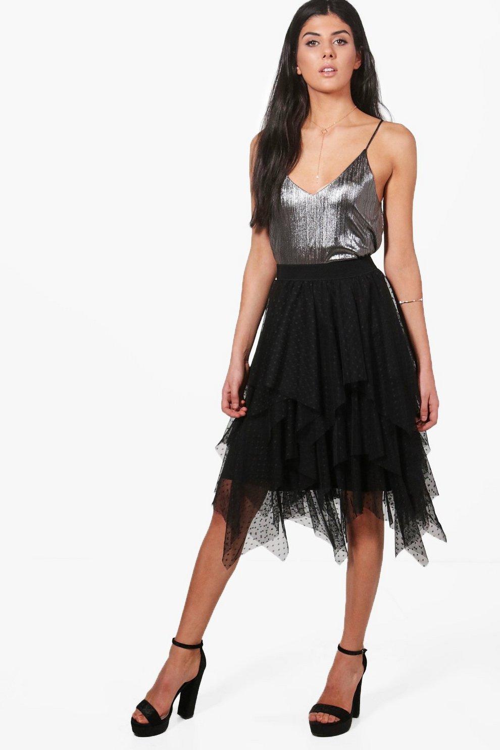 0bb2bdc88f99fd Gianna Polka Dot Layered Tulle Full Midi Skirt | Boohoo