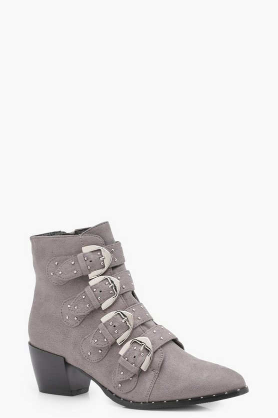 Alice Stud & Buckle Trim Western Boots