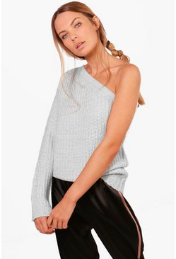 Womens Aimee One Shoulder Ribbed Jumper