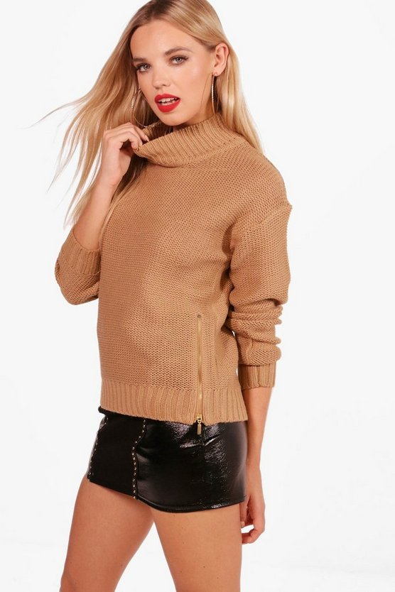 Paige Reverse Knit Turtle Neck Side Zip Jumper