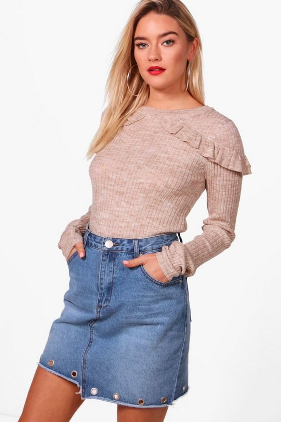 Eloise Rib Jumper With Frill Shoulders
