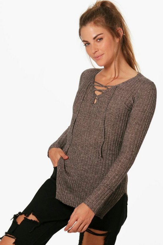 Maddison Ribbed V-Neck Neck Tie Jumper