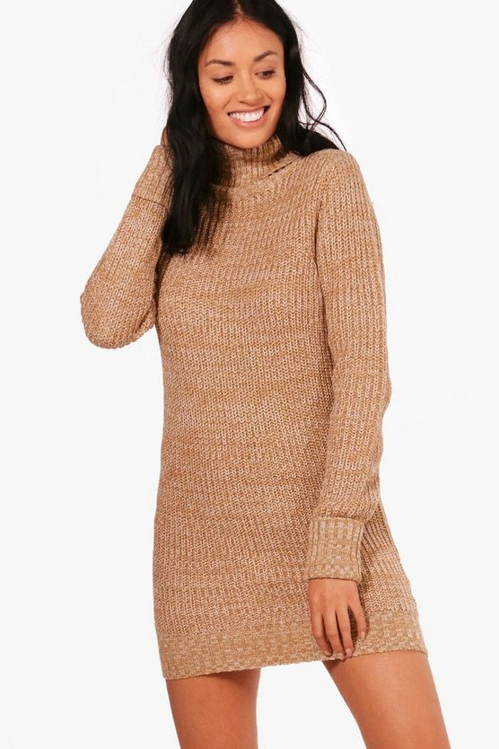 Jenna Fisherman Rib Roll Neck Tunic Jumper