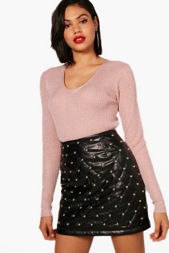 Metallic Rib V-Neck Side Split Jumper