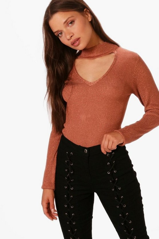 Metallic Choker Neck Rib Jumper