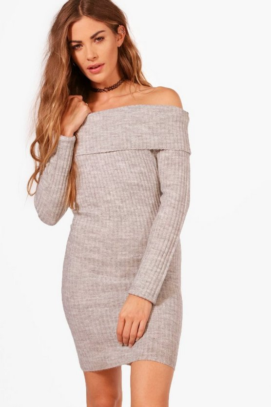 Ribbed Bardot Off The Shoulder Dress