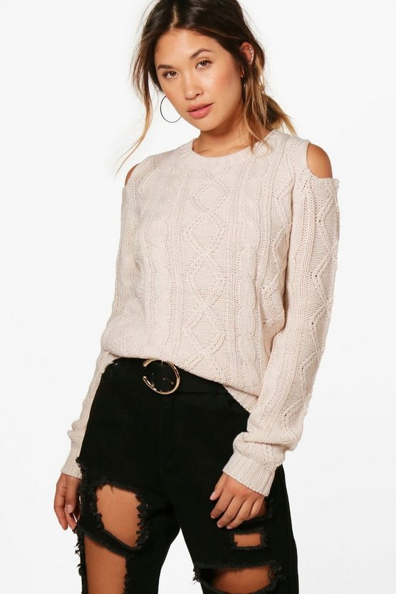 Lola Crew Neck Cold Shoulder Cable Jumper
