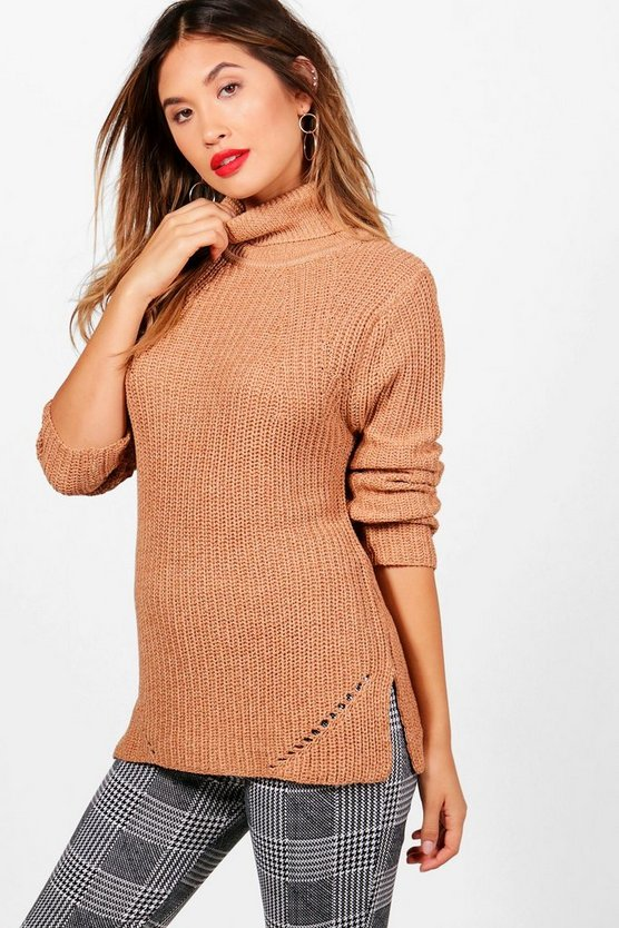 Maria Ribbed Roll Neck Side Split Jumper
