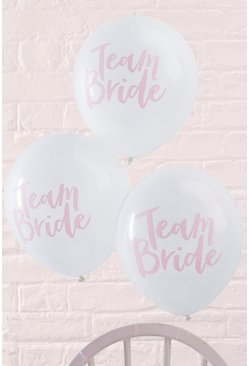 Lot de 10 ballons à slogan team bride, Blanc, Femme
