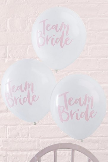 Womens White Ginger Ray Team Bride Slogan Balloon 10 Pck