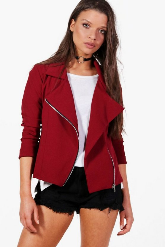 Womens Wine Biker Jacket