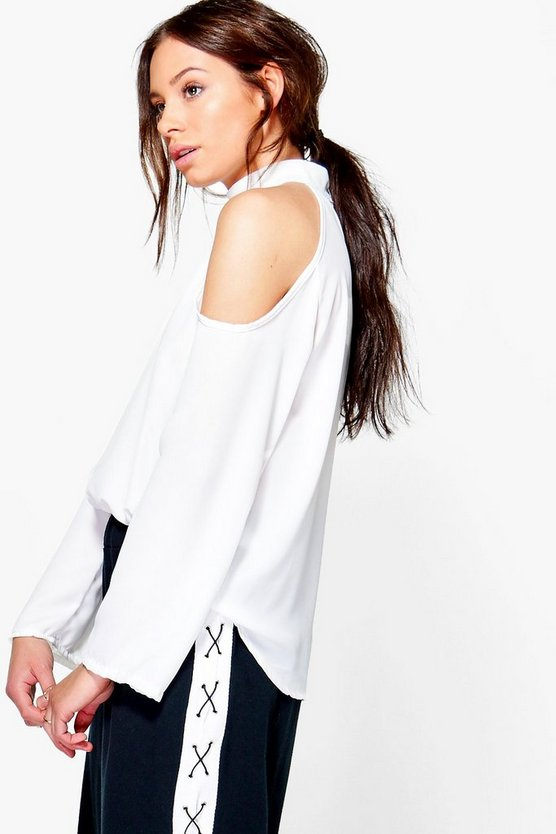 Maya Cold Shoulder Choker Blouse