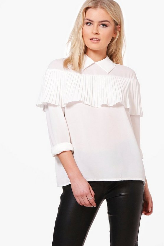 Ava Pleated Ruffle Long Sleeve Shirt