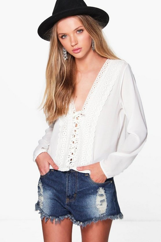 Casey Crochet Lace Ribbon Blouse