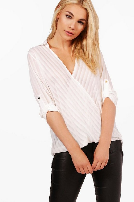 Sadie Sheer Stripe Wrapover Shirt