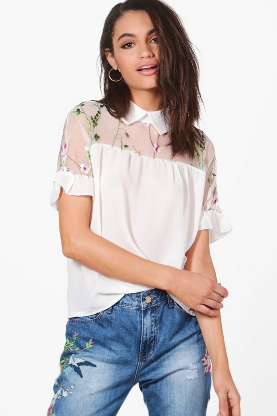 Freya Embroidered Mesh Short Sleeve Shirt