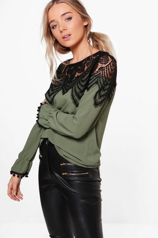 Womens Khaki Eyelash Lace Trim Top