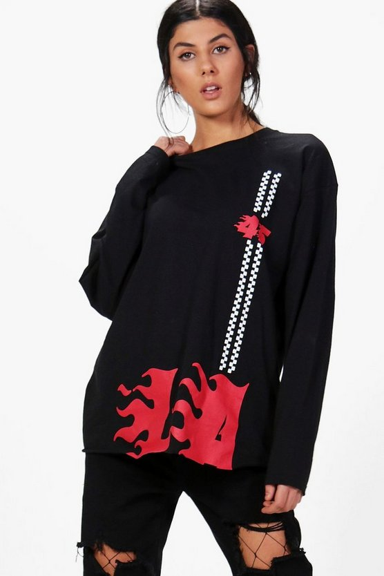 Amira LA Flame Print Long Sleeve Tee