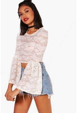 Sarah Lace Bell Sleeve Crop, Cream, Donna