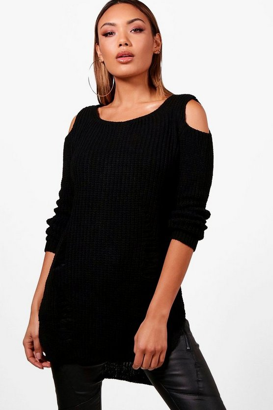 Soft Knit Cold Shoulder Distressed Tunic Jumper