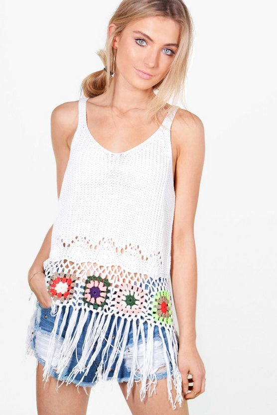 Maisie Multi-Colour Crochet Tassel Hem Vest