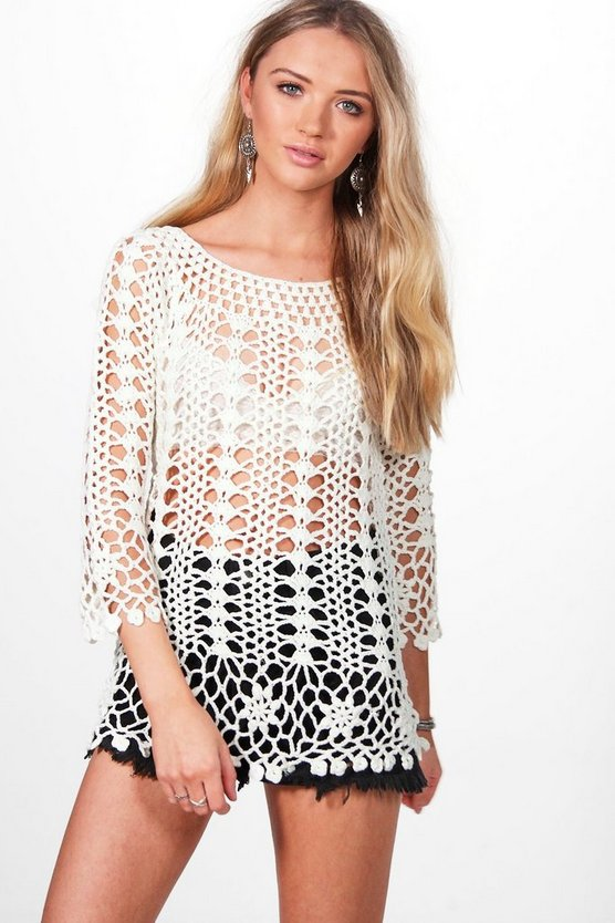 Ruby 3/4 Sleeve Crochet Top