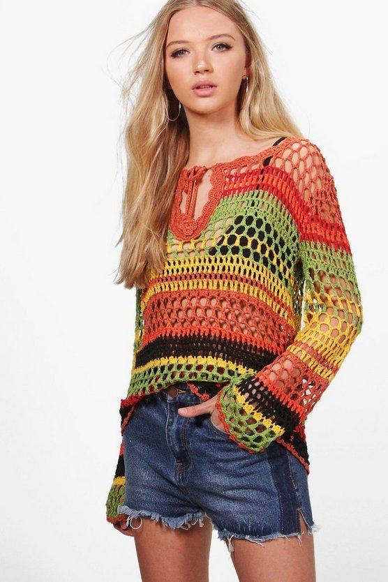 Heather Burnt Stripe Crochet Top