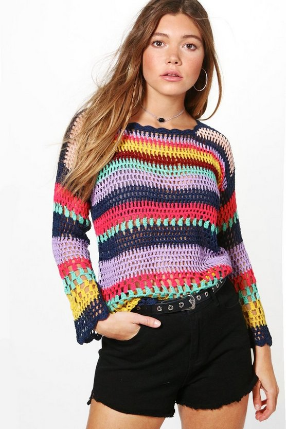 Paige Multi Stripe Crochet Top